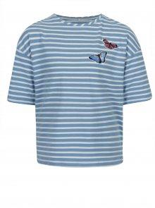 Bílo- modré pruhované holčičí tričko s krátkým rukávem name it Asja