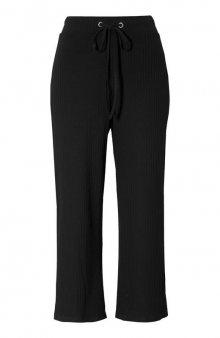 Žebrované kalhoty střihu culotte Ottavia / černá