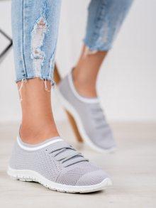 Krásné dámské  tenisky šedo-stříbrné bez podpatku