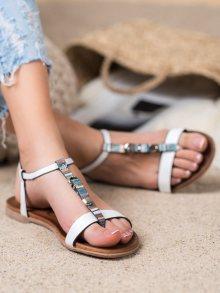 Praktické  sandály dámské bílé bez podpatku