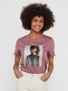 Růžové tričko s potiskem VERO MODA Flansa