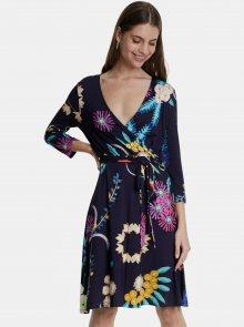 Tmavě modré květované šaty Desigual