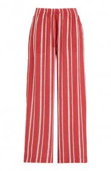 Kalhoty Lia / červená/proužky