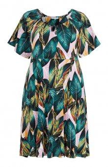 Šaty Deng / zelená/se vzorem