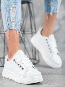 Trendy dámské  tenisky bílé bez podpatku 38