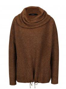 Hnědý žíhaný svetr s příměsí vlny VERO MODA Helen