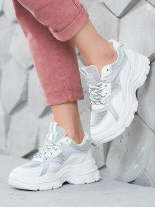 Klasické bílé dámské  tenisky bez podpatku 38