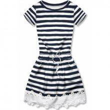 Modro-bílé pruhované šaty s krajkou I.