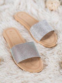 Trendy  nazouváky šedo-stříbrné dámské bez podpatku