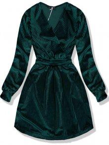 Tmavě zelené sametové krátké šaty