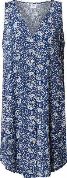 GAP Šaty \'V-SL BTN SHFT DRESS\' bílá / kouřově modrá / světlemodrá