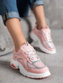 Moderní  tenisky dámské růžové bez podpatku 36