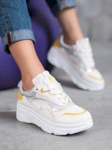 Designové dámské bílé  tenisky bez podpatku 38