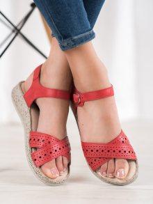 Exkluzívní dámské  sandály červené bez podpatku 36