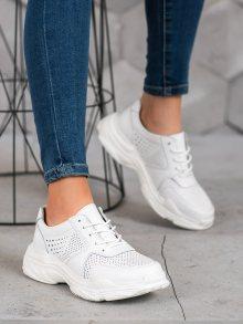 Luxusní bílé dámské  tenisky bez podpatku 37