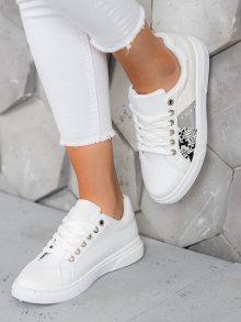 Luxusní bílé  tenisky dámské bez podpatku 37