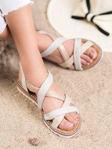 Módní dámské vícebarevné  sandály bez podpatku 36