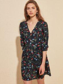 Tmavě modré květované šaty Trendyol - XS