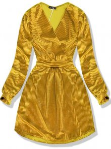 Zlatožluté sametové krátké šaty