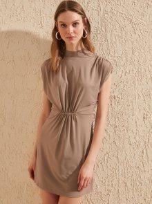 Trendyol hnědé letní šaty - S