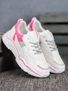 Jedinečné dámské  tenisky růžové bez podpatku 38