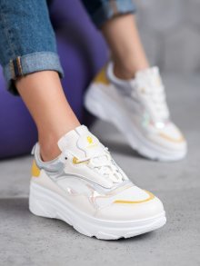 Designové dámské bílé  tenisky bez podpatku 36
