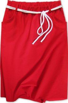Tepláková sukně s kapsami červená (592ART) červená ONE SIZE