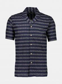Tmavě modrá vzorovaná košile s příměsí lnu Shine Original