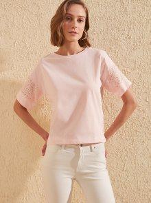 Trendyol růžové dámské tričko s průstřihy - L