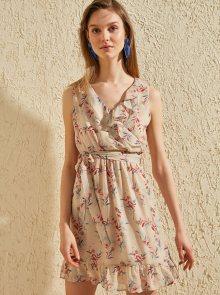 Trendyol béžové letní šaty s barevnými motivy - L