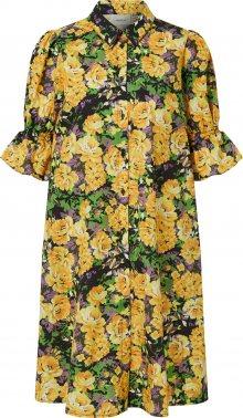 Gestuz Košilové šaty \'CassiaGZ AOP dress\' černá / žlutá