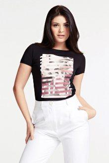 Guess černé dámské tričko Donna Stampa Piazzata - S
