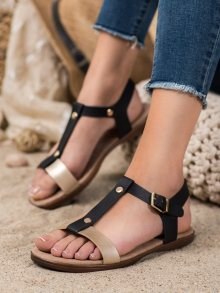 Luxusní  sandály dámské černé bez podpatku 36