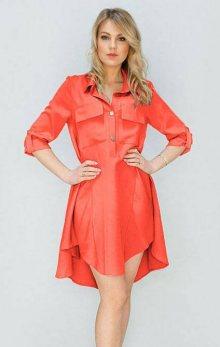 Šaty v neonově korálové barvě s kapsami (267ART) růžová XL (42)