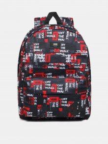 Červeno-černý vzorovaný batoh VANS 22 l