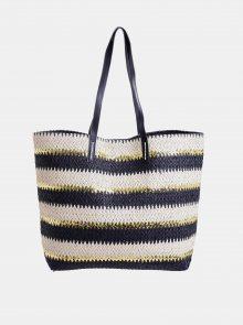 Krémovo-černá plážová jutová taška Ble