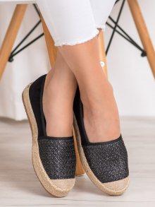 Módní  tenisky černé dámské bez podpatku