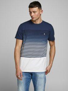 Tmavě modré pruhované tričko Jack & Jones Grade