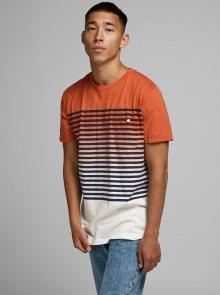 Oranžové pruhované tričko Jack & Jones Grade