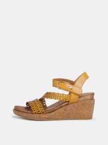 Žluté kožené sandálky na klínku Tamaris