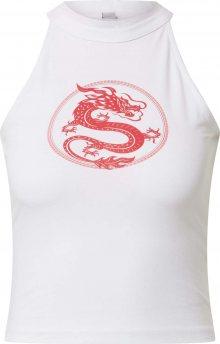 Merchcode Top \'Ladies Dragon Turtleneck Short Top\' bílá