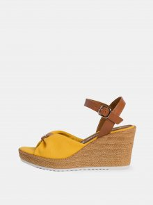 Žluté sandálky na klínku Tamaris