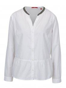 Bílá dámská košile s korálky na límečku s.Oliver