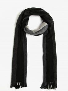 Černo-šedá pánská pruhovaná šála s příměsí vlny s.Oliver
