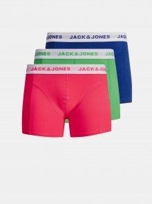 Sada tří boxerek v zelené a modré barvě Jack & Jones Solid