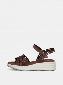 Hnědé kožené sandály na platformě Tamaris