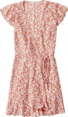 Abercrombie & Fitch Šaty \'Wrap Print Driver\' oranžová / bílá