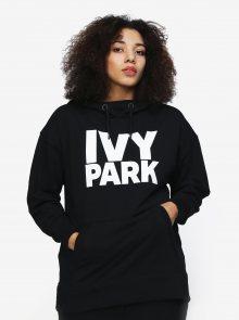 Černá oversize mikina s kapucí a potiskem Ivy Park