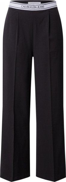 Calvin Klein Jeans Kalhoty s puky bílá / černá