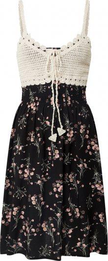 Hailys Letní šaty \'Kana\' černá / krémová / růžová / khaki